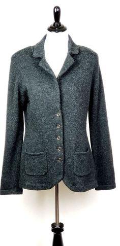 CAbi Women Size L Charcoal Gray Knit Cardigan Sweater Blazer Style  621 ~  EUC   4124fa592