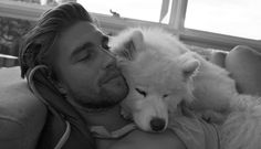 Tristan Burnett and his white wolf