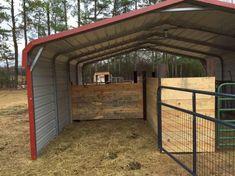 Build a barn from a metal carport. - barn - Build a barn from a metal carport. Build a barn from a metal carport. Barn Stalls, Horse Stalls, Horse Barns, Horse Shed, Horse Barn Plans, Goat Barn, Farm Barn, Cattle Barn, Portable Carport