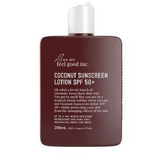 Fly Buys: We Are Feel Good Inc Coconut Suncreen Lotion Sunscreen Spf 50, Natural Sunscreen, Best Spf, Sun Lotion, Best Sunscreens, Active Ingredient, That Way, Bath And Body, Knives
