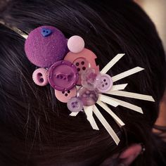 Purple Button cluster headband  perfect for girls and by AngleAh, $12.00