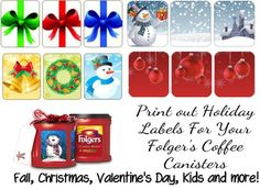 My Repurposed Life {Folger's Coffee Labels} This blog has all the coffee labels in one place! Great for homebaked goodies. Pin now read later.