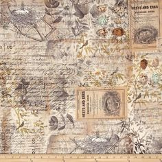 Tim Holtz Eclectic Elements Wallflower Eggs & Nest Multi from @fabricdotcom  Designed by Tim Holtz for Westminster Fabrics, this cotton print collection is perfect for quilting, apparel, and home decor accents. Colors include tan with shades of grey, black, green, and blue.