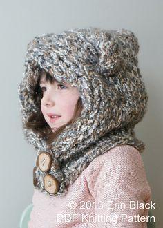 Ravelry: Chunky Bear Hood (Hat 007) pattern by Erin Black
