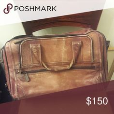 Avenue Americas Laptop Bag Weathered genuine brown leather laptop bag with mutiple compartments to carry all of your business related and personal belongings. Avenue Americas Bags Laptop Bags