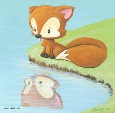 """Familiar, acrylic on canvas, 8""""x8""""  fox painting"""