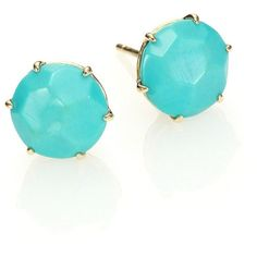 IPPOLITA Rock Candy Turquoise & 18K Yellow Gold Stud Earrings ($830) ❤ liked on Polyvore featuring jewelry, earrings, apparel & accessories, stud earring set, turquoise stud earrings, gold jewelry, turquoise post earrings and turquoise jewelry