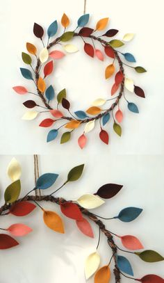 Felt Leaves Wreath Diy Arts And Crafts, Cute Crafts, Felt Crafts, Fabric Crafts, Diy Crafts, Felt Wreath, Wreath Crafts, Diy Wreath, Felt Garland