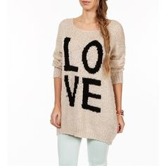Ivory/Black Long Sleeve Love Sweater ($30) ❤ liked on Polyvore