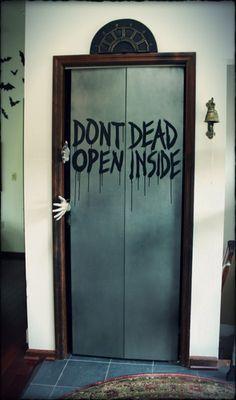 Halloween Forum member Hilda's prop elevator take on Tower of Terror meets The Walking Dead, using her foyer coat closet.