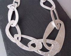 Sterling Silver Chain Statement Necklace Artisan by LizardiJewelry