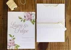 Convite de casamento floral moderno | Estúdio Amora | Elo7