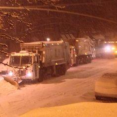 NYC Sanitation Plow Convoy turning off 7th Ave... #Nemo #NYCSanitation - @jeffreynyc