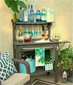 Potting bench turned bar...too cool!!!