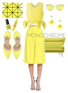 """""""monochrome"""" by wiena-chantika-a on Polyvore featuring Manolo Blahnik, Bao Bao by Issey Miyake, OPI, Maybelline and MSGM"""