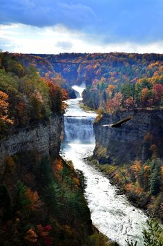 100 Gorgeous Photos Of Fall Leaves Glen Iris, Grand Canyon of the East, Letchworth State Park in Upstate New York - Harvey Taylor Letchworth State Park, Oh The Places You'll Go, Places To Travel, Places To Visit, Beautiful Waterfalls, Beautiful Landscapes, Dream Vacations, Vacation Spots, State Parks