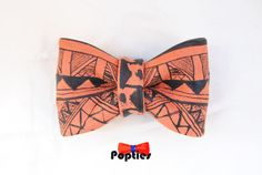 AZTEC leather BOW TIE  hand painted by Popties on Etsy