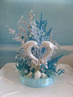 Dolphin Beach Wedding Cake TopperSeashell Topper