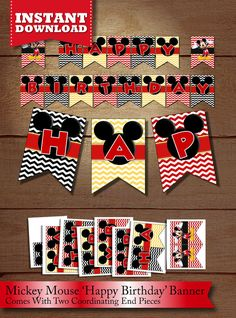 INSTANT DOWNLOAD Mickey Mouse Red Black Yellow Happy Birthday Chevron Pennant Banner, Printable Mickey Mouse Chevron Flag Bunting Banner Pennant Banners, Bunting Banner, Mickey Birthday, Happy Birthday Banners, Printable Banner, Party Printables, Classic Mickey Mouse, Red Black, Etsy