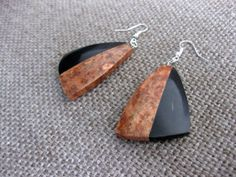 Exotic wood and buffalo horn earrings, abstract earrings, art earrings, modernist earrings