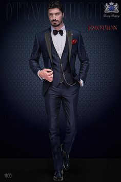 Italian bespoke blue fashion suit in shantung fabric with black satin peak lapel; with matching waistcoat, style 1100 Ottavio Nuccio Gala, Emotion collection.