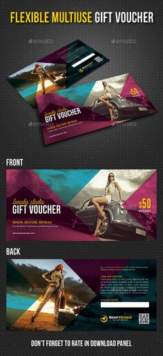 Buy Flexible Multiuse Gift Voucher by rapidgraf on GraphicRiver. The Pack included: Gift Voucher Template 2 PSD files Front and Back Side Print Size: mm – in Trim Siz. Gift Voucher Design, Waxing Services, Ticket Design, Corporate Identity Design, Discount Vouchers, Triangle Design, Postcard Design, Creative Artwork, Photo Charms