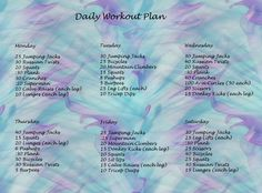 Daily Workout Plan for all your New Year Resolutions!!!