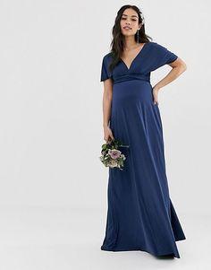 c0cdfa5a2d7c7 TFNC Maternity Pleated Wrap Front Maxi Bridesmaid Dress with Cape ...