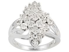 Diamond Chic(Tm) Diamond .20ctw Round And Baguette Rhodium Over Sterling Silver Ring Eav $110.00