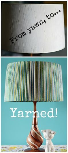 This is a great way to rehab an old lampshade to your living room colors. Think outside the box with the design. This is variegated yarn but you could use two colors and do stripes.  I'm not a fan of the base. I would spray paint the base a solid color. Goodwill lamps get a new and contemporary look with spray paint.