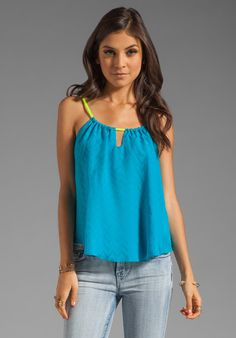 MILLY Chevron Silk Paola Tank in Aqua at Revolve Clothing