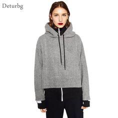Women's Brief Hooded Short Hoodies Female Casual Asymmetrical Crop Tops Woolen Gray Thicken Pullover Sweatshirt 2016 Autumn WS44 #Affiliate