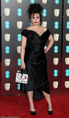 Helena Bonham Carter looked suitably regal as she arrived at the BAFTAs at the Royal Albert Hall on Sunday, and seemed to give a nod to her new Royal role with her sparkly bag.