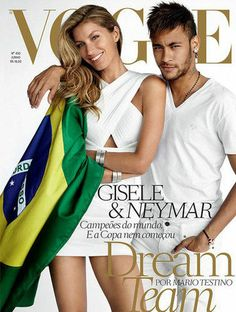 mirnah: Landing yet another Vogue cover, Gisele Bundchen joins football star Neymar for Vogue Brazil's June cover. The pair pose for Mario Testino wearing the Brazilian flag and matching white looks. Vogue Covers, Vogue Magazine Covers, Fashion Magazine Cover, Fashion Cover, Mario Testino, Gisele Bundchen, Neymar Jr, Vogue Kids, Vogue Editorial