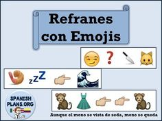 This fun activity connects with the social media crazy teens who use emojis everyday of their as communication. 13 Idioms in Spanish are written in Emoji form.