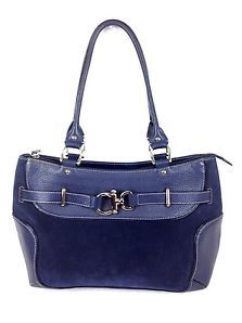 FRANKLIN COVEY Purse LEATHER Navy Blue ITALY Zip Up BUSINESS Bag SATCHEL Large L