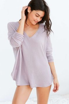 Out From Under Lilac Oversized Cozy Thermal V-Neck Top UO #pastel