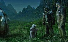 Yoda saying goodbye to Tarfful and Chewbacca