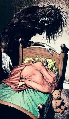 What creeps me out about this is that I remember a similar figure near my bed as a child. I would see it and be paralyzed with fear.art by Brian Bolland for Neil Gaiman's Sandman Comics Neil Gaiman, Creepy Art, Scary, Comic Books Art, Comic Art, Illustrations, Illustration Art, Art Sinistre, Trailer Park