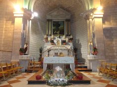 The Franciscan Wedding Church in Cana ~ Beneath the sacristy of the present Franciscan church were found remains of dwellings dated back to the 1st century and an ancientbasilicawith three apses in cross-like form. In a crypt a small stone cistern was found fitted into a flagstone floor.