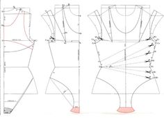 Russian site with multiple illustrations showing how to create different styles of swimwear. This illustration show a ruched side front one piece,