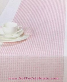 Pink Gingham Table Runners Paper Table Runners Pink Gingham Tablecloths - Set To Celebrate & pink gingham paper plate   party style rustic pink pony ...