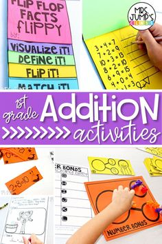 If you teach first grade math, you will likely spend a large part of the year teaching addition. These first grade addition activities are a great idea to give your students hands on practice with addition, and can be used as 1st grade math centers.