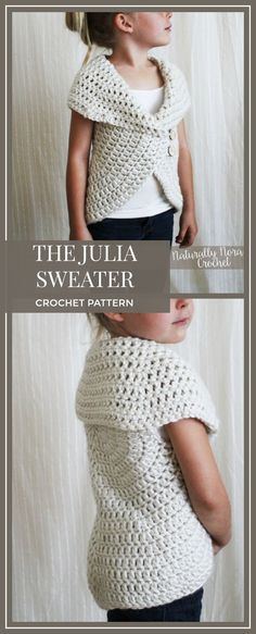 This is adorable and looks easy! Crochet Pattern: The Julia Sweater -Toddler, Child, Adult S,M,L neutral, chunky, ribbed, simple #crochet #crocheting #crochetpattern #ad #pattern #modestfashion #diy