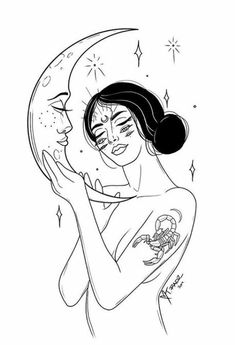 Kunst Tattoos, Tattoo Drawings, Art Drawings, Scorpio Art, Scorpio Moon, Tattoo Und Piercing, Moon Art, Future Tattoos, Small Tattoos