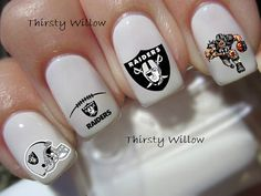 Oakland Raiders Nail Decals by ThirstyWillow on Etsy, $3.99