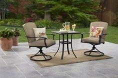 Modern Bistro Set 3 Piece Garden Dining Table Swivel Chairs Tan Outdoor Patio  #BistroSet