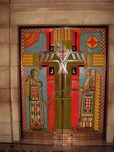 File:NebraskaStateCapItol Doors to the East Chamber.  Celebrate the Plains Indians.  (Often mistaken for Egyptian)
