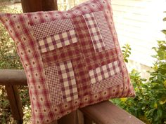 Windmill Country Primitive Homespun Red Pillow Quilted Fully Stuffed - Handmade in NJ -
