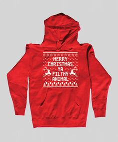 This holiday hoodie was crafted with a cool print that mimics the fun, festive look of an ugly sweater. Soft and easy to pull on overhead, it makes a great alternative to pulling those old, itchy wool pieces out of the closet.